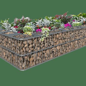 Enkelt blomsterbed i gabion