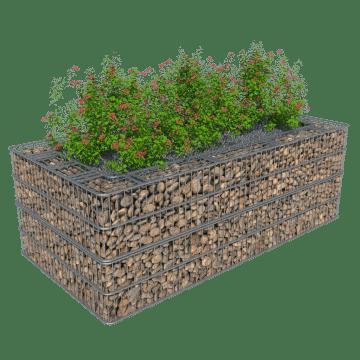 Høyt blomsterbed i gabion