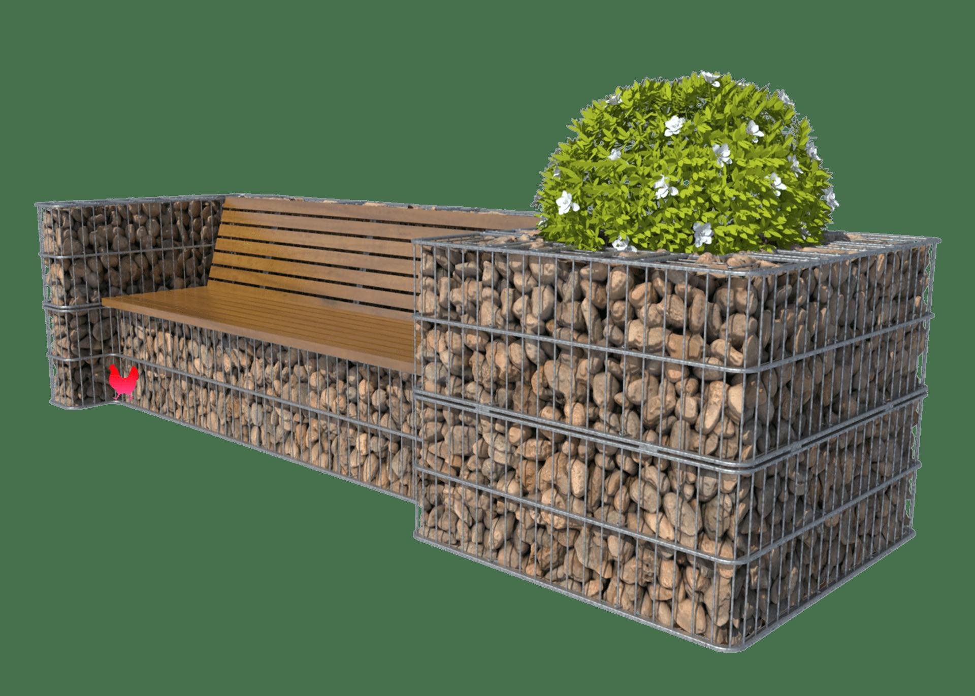 Sofa med blomsterbed i gabion