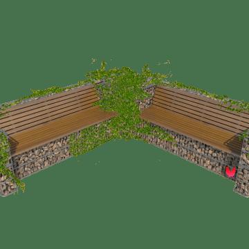 Hjørnesofa med blomsterbed i gabion