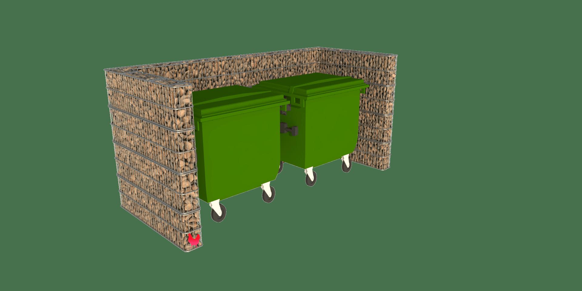 Stor avfallsskjerm i gabion