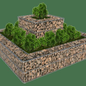 Opphøyd blomsterbed i gabion