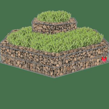 Opphøyd hexagonformet blomsterbed i stein